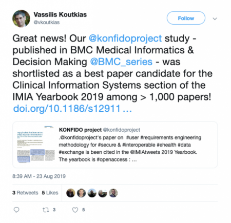 KONFIDO BMC paper shortlisted for IMIA Yearbook 2019